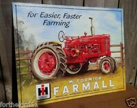 Vintage Farmall International Harvester Tractor Tin Metal Sign McCormick Garage
