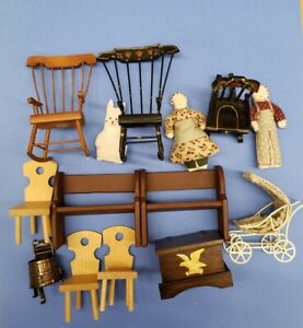 Vintage Dollhouse Furniture Lot Rocking chairs, metal baby carriage,  wooden