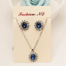 18K White Gold Plated Crystal Women Jewelry Sets Sapphire Necklace Earring