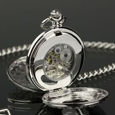 PACIFISTOR Mens Skeleton Mechanical Pocket Watch Steampunk Chain Antique Design