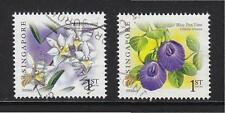SINGAPORE 2009 BLUE PEA VINE & PIGEON ORCHID (2009A) 1ST LOCAL GUM 2 STAMPS USED