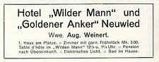 Hotel Wilder Mann & Goldener Anker Neuwied Wwe.A.Weinert Historische Annonce1906