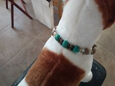 """Custom beaded dog collar fits neck 11-14"""" with black chain and clasp."""