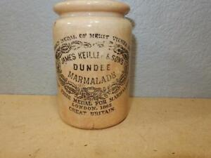 Antique Stoneware Jar-James Keiller & Sons Dundee Marmalade Great Britain 4x3 in