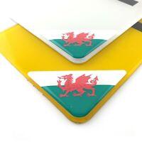 Welsh Flag Number Plate Corner Sticker 50mm x2 Domed Gel Coated Wales Decal