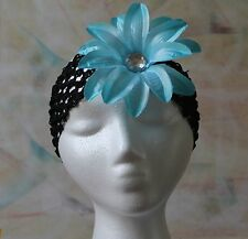 Handmade Headband - Black Stretchy Lace with Turquoise Flower Clip, New