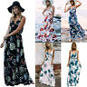 Women Summer Print Floral V-Neck Beach Boho Long Maxi  Dress Sleeveless Sundress