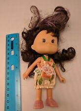"Little Girl Doll 5"" Dk Brown & Purple Hair, Floral Dress, Shoes"