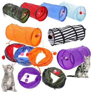 Pet Cat Tunnel Outdoor Game Playing Toy Foldable Kitten Rabbit Toys w/ Bell Ball