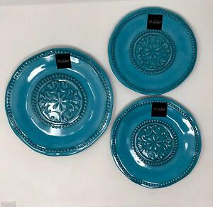 IL MULINO Melamine Hobnail Medallion Dinnerware 2 Salad Plates 1 Dinner Plate