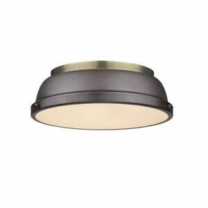Golden Lighting Duncan AB 2-Light Aged Brass Flush Mount Light 3602-14 AB-RBZ