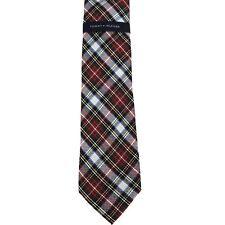 """Tommy Hilfiger Men's 100% Silk Grenadine Tartans III Neck Tie White 3"""" x 57"""""""