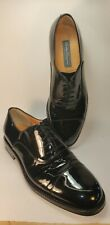 SALVATORE FERRAGAMO MEN'S CAP TOE PATENT LEATHER OXFORD BLACK LACE-UP SIZE 11D