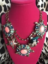 Betsey Johnson Nautical Embellished Sea Turtle Shell Shocked Coral Fish Necklace