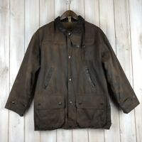 Vintage Barbour Bushman Men's Green Wax Waxed Jacket Coat MADE IN ENGLAND S / M