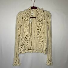 Abercrombie and Fitch Small Ivory Crochet/Knit Cardigan Sweater Ruffle Collar