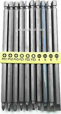 10 PIECE EXTRA LONG SCREWDRIVER BITS POZI PHILLIPS FLAT 150MM DRILL BITS CB5
