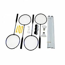 NEW! 4 Player Garden Badminton Set w/ Racket, Net, Shuttlecocks & Carry Bag