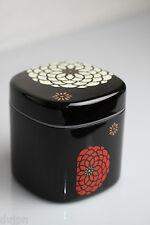 Boîte à thé ou café Japonaise fleurie noire