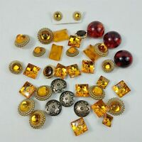 Button Lot Vintage Orange & Silver Plastic Metal Round Square Buttons Mixed Lot