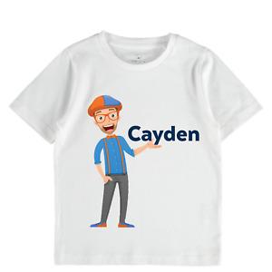Blippi personalised tshirt girls boys toddler tops science birthday gift blipi