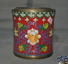 Marked old Chinese purple copper Cloisonne Flowers Brush Pot pencil vase statue