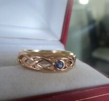 Attractive 9ct Clogau Yellow & Rose Gold Welsh Celtic Blue Sapphire Ring  size Q