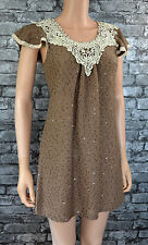 * Women's Pretty Caramel Brown Sequined Knit Short Sleeved Dress Uk Size 10