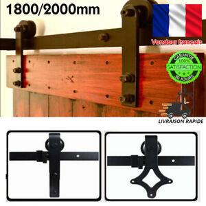 6.6Ft Rail Porte Coulissante Quincaillerie De Grange Kit Roller pour Portes bois