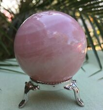 40 mm Pink Rose Quartz Sphere W/Stand Gemstone Sphere Specimen Crystals Chakra