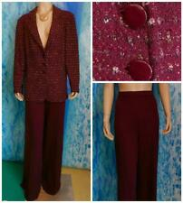 St. John Collection Red Gold Jacket Pants XL 16 14 2pc Suit Metallic Shimmer