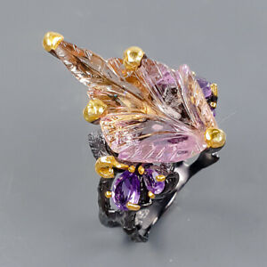 Carving Design jewelry Ametrine Ring Silver 925 Sterling  Size 8.75 /R175841