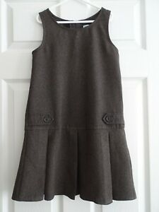 Girl's Grey School Pinafore Dress from M&Co Age 7-8 Years