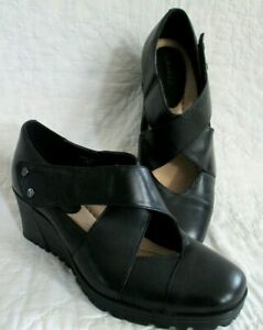 EARTH Spindrift Women's BLACK Leather Mary Janes Shoes Wedge Sz 8 B  Excellent!