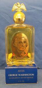 Vintage Spicy After shave, Avon George Washington decanter. 4 fl oz full w/ box