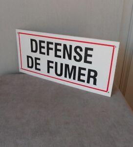 French Vintage Plaque Sign :  defense de fumer =  No smoking