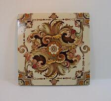 Antique Vintage Stylised Floral Ceramic Tile