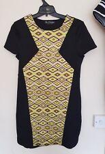 Beautiful black & yellow patterned dress by Miss Selfridge  size 10