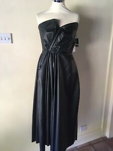 LANVIN Gathered Faux Stretch Leather Dress