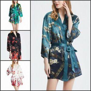 Damen SEIDE Kimono Mini-Kleid Jacke Bluse Wickel-Kleid Morgenmantel yukata Japan