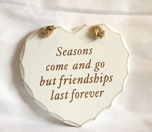 Wooden Hanging Wall Plaque Sign Inspirational Saying Shabby Chic Heart Shaped