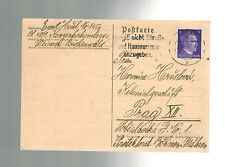 1942 Germany Buchenwald Concentration Camp Postcard Cover Emil Hrsel to Prague 2