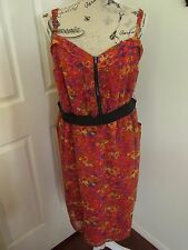 Ladies Red Black Floral Zip Front Maxi Dress by City Chic Size XL 20 22 24