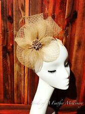 GOLD BROWN #26Feather Flower Fascinator Melbourne Cup Wedding SpringRaceHandmade
