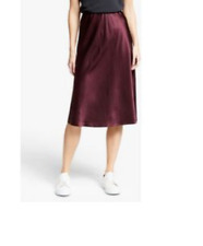 New Modern Rarity Satin Bias Midi Skirt, Red, UK 8, RRP £80
