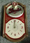 """Vintage 1986 STROH'S BEER Sign CLOCK Battery Operated 19"""" x 10.5"""""""