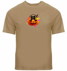 Pumpkin Shirt Mens Unisex Funny Halloween Tee Cat T-Shirt Printed Candy Gift