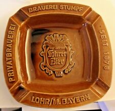 LOHRER BIER BEER CERAMIC BROWN ASH TRAY LOHR M. BAYERN GERMANY WITTEKIND