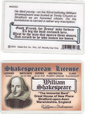 William Shakespeare fake Id i.d. card Drivers License romeo and juliet writer