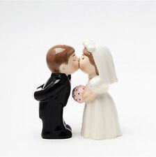 BRIDE & GROOM WEDDING COUPLE CERAMIC CAKE TOPPER/SALT & PEPPER SHAKERS GIFT SET
